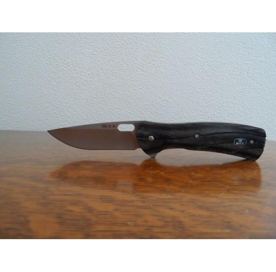 Couteau BUCK 11 cm pliant bois de charbon