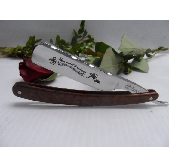 "Gustave Lalune 6/8 straight razor ""Mon Petit Bonheur"" snakewood scales"